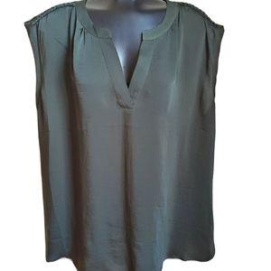 Michel Studio | Split Neck Uniform Green Blouse